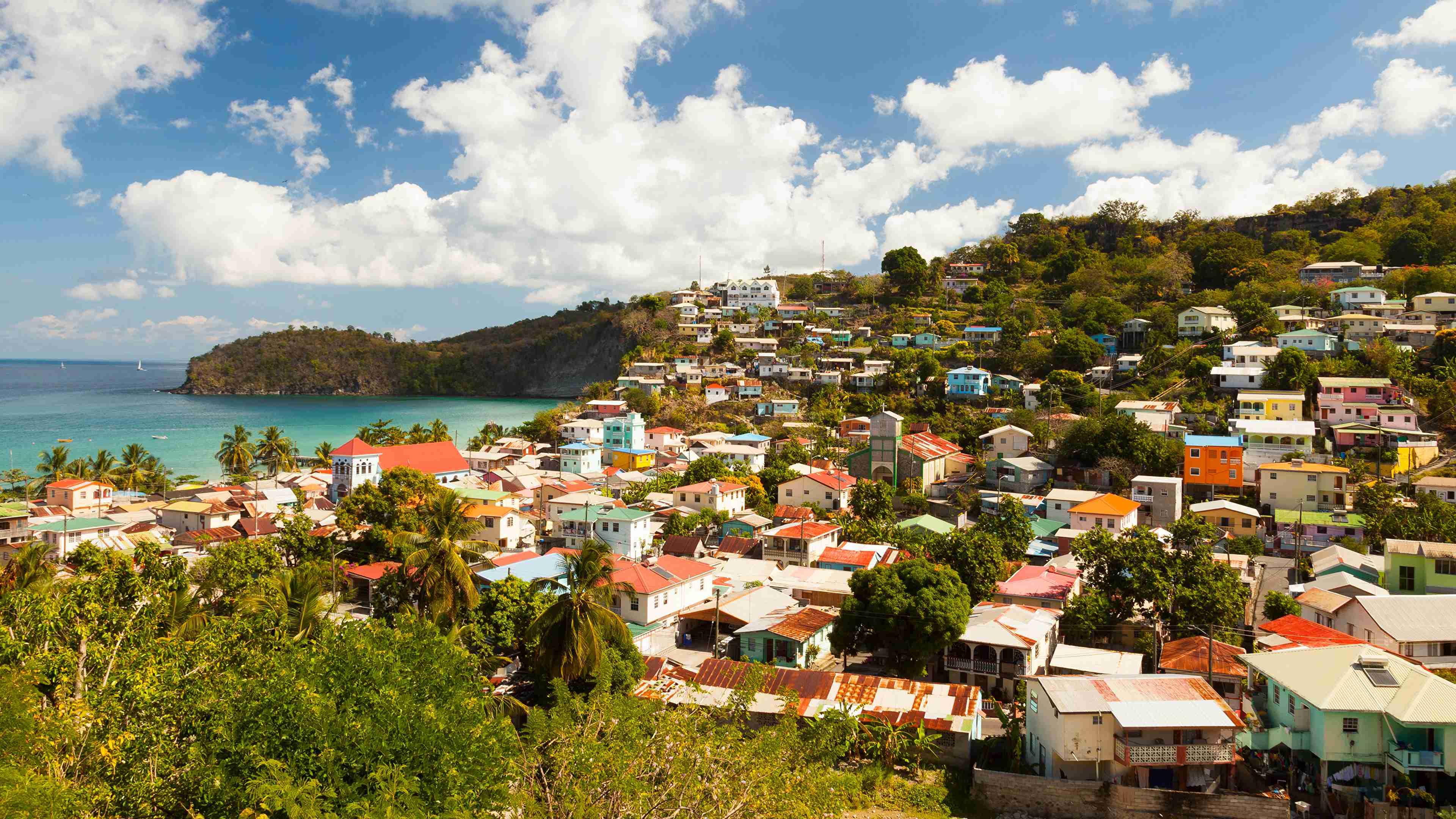 Houses Coast Saint Lucia Canary Islands Clouds 540980 3840x2160