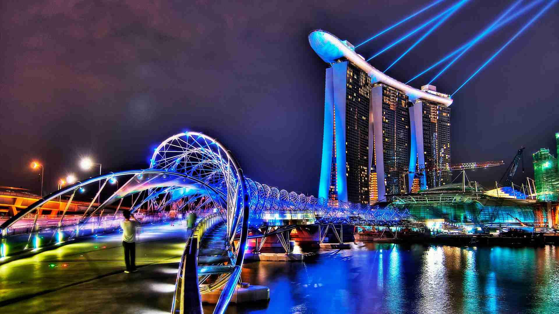 Singapore Bridges Skyscrapers Marina Bay Sands Hotel Wallpaper Hd