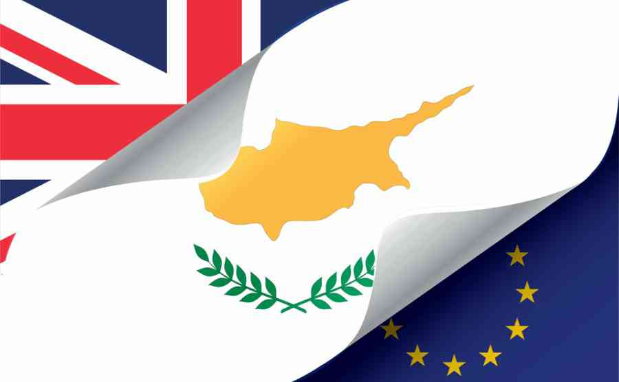 Illustrated Eu And Uk Flags With The Flag Of Cyprus 1
